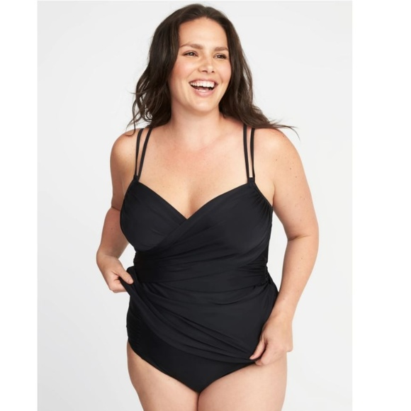 a138f4c1fd3 Old Navy Plus Size Wrap Front Tankini Top Black 1X
